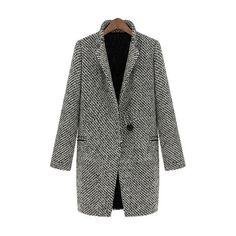 SheIn(sheinside) Black White Notch Stand Collar Long Sleeve Oversize... (3.120 RUB) ❤ liked on Polyvore featuring outerwear, coats, sheinside, black, oversized coat, plaid wool coat, houndstooth coat, wool coat and vintage coat
