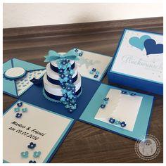 Stampin' Up! - Explosionsbox zur Hochzeit mit einer Torte voller Blüten - Bellas Stempelwelt - Dunkelblau, Hellblau