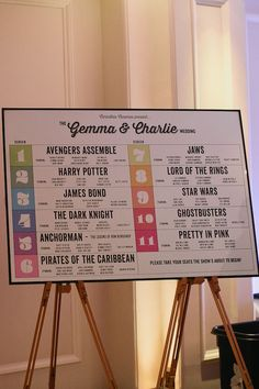 Cool Movie themed wedding- gorgeous table plan by Vintage Designs www.vintage-designs.co.uk