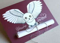 Harry Potter Design by Jill Means An invitation delivered by a snowy owl. Perfect for a Harry Potter theme party, Halloween party, even a Baby Harry Potter, Harry Potter Baby Shower, Cadeau Harry Potter, Harry Potter Fiesta, Harry Potter Birthday Cards, Harry Potter Invitations, Harry Potter Thema, Deco Harry Potter, Harry Potter Cards