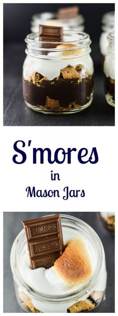 S'mores in Mason Jars are the perfect delicious dessert to take to the picnic!   Beer Girl Cooks