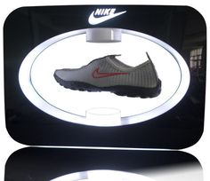 The aesthetic and futuristic looking magnetic floating display uses patent pending magnetic technology to allow objects to float in a magnetic field. Raise your brand to a new level with these custom floating displays.