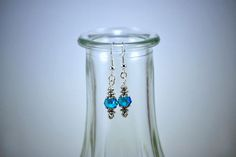 Teal Faceted Crystal Silver Drop Earrings by KoningStilsonDesign on Etsy Silver Drop Earrings, Crystal Earrings, Gifts For My Sister, Faceted Crystal, Simply Beautiful, Pandora Charms, Glass Vase, Opal, Etsy Shop