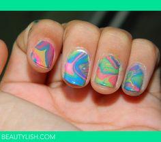 Water marble nails by Perla F. Water Color Nails, Water Marble Nails, Beauty Nails, Hair Beauty, Fun Nails, Nice Nails, Girly Things, Nail Colors, Nail Polish