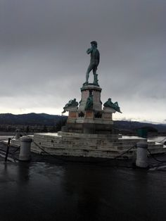 January in Florence, the statue of David in Piazzale Michelangelo