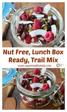 Nut Free, Lunch Box Ready, Trail Mix - A nut free trail mix that your kids will love! http://www.superhealthykids.com/nut-free-lunch-box-ready-trail-mix/