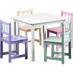 Berman Kids Table and 4 Chairs Set, White - Walmart.com