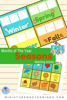 Months of The Year Preschool Season Matching Activity