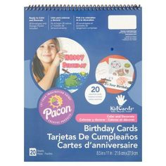 Pacon KidCards Color and Decorate Birthday Cards, 20 count, White