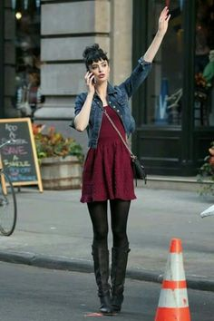 Krysten Ritter in Current/Elliott Denim Jacket 2019 Winter is coming. The post Krysten Ritter in Current/Elliott Denim Jacket 2019 appeared first on Denim Diy. Mode Outfits, Dress Outfits, Casual Outfits, Fashion Outfits, Womens Fashion, Burgundy Dress Outfit, Dresses, Latest Fashion, Current Fashion Trends