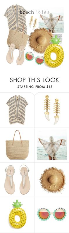 """""""Beach time!"""" by carmencherie ❤ liked on Polyvore featuring Maje, House of Lavande, Target, Billabong, Big Mouth, Rad+Refined and beachtotes"""