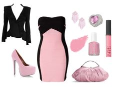 The bandage dress, the black accent creates a sexier illusion to the body. Can wear with or without the blazer.