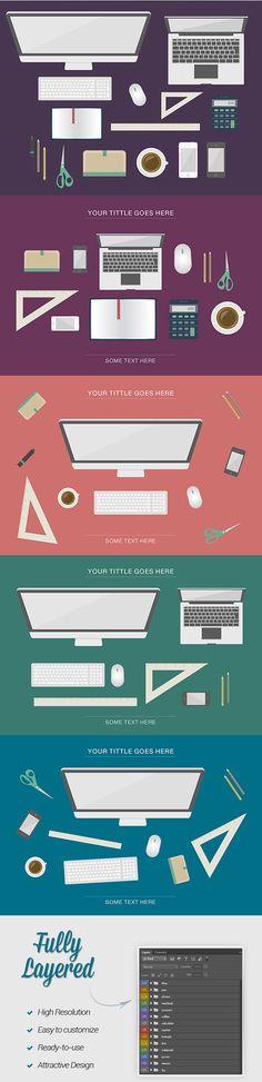 Free Download : Flat Desk Items (PSD)