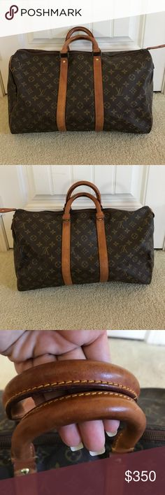 Vintage Louis Vuitton Keepall 45 Perfect sized bag for travel. This is a vintage Louis Vuitton Keepall 45. Comes with the lock and but no key. Canvas is nice and clean. Leather shoes some scuffs, med honey patina, still nice. Zipper works well, but there is a minor tear see pix 7. Interior is has minor marks. Hard to capture with the camera since they are light. This is a classic bag they still sell in stores, if you walk into an LV you will pay $1350 + tax. I never trade. Louis Vuitton Bags