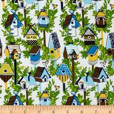 Garden Party Birdhouses Blue