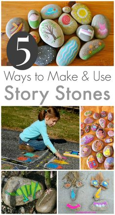 5 Story Stones Ideas :: Storytelling with Rocks ***Print out mini pics to Modge Podge onto the rocks to go along with the topic for the day.