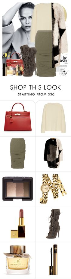 """""""She"""" by eleonoragocevska ❤ liked on Polyvore featuring Hermès, The Row, Rick Owens, Preen, NARS Cosmetics, Juicy Couture, Tom Ford, Aquazzura, Burberry and Yves Saint Laurent"""