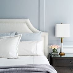 soft light blue master bedroom with blue pillow touches Rustic Bedroom Decorating Ideas No Headboard Decorating Ideas