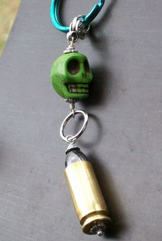 Sugar Skull and Bullet Pendant Keychain by VivaGailBeads on Etsy, $14.25