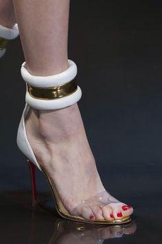 Alexandre Vauthier Spring 2014 | white and gold stiletto