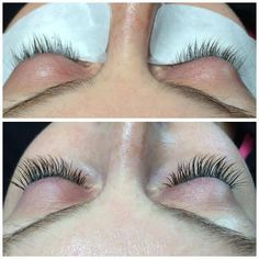 Student Ashley Debeaudrap's first classic eyelash extensions application.