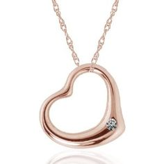14k Rose Gold Diamond Heart Pendant, 17""
