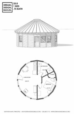 Yurt design for construction by Matthew Smith. These designs include bedrooms, bathrooms, studio, loft and office. Round House Plans, Dream House Plans, Small House Plans, House Floor Plans, Earthship, Container Hotel, Yurt Home, Yurt Living, Earth Bag Homes