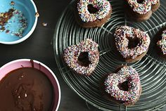 Baked Chocolate Doughnuts with Sprinkles - Chez Us