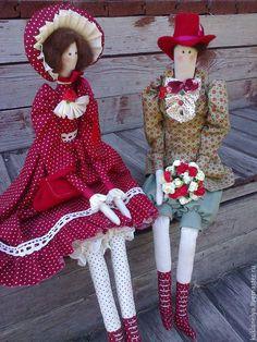 Купить Кукла тильда ручной работы Свидание. - бордовый, кукла ручной работы, текстильные игрушки