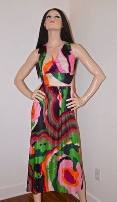 60s 70s Psychedelic Maxi Dress / 1960s 1970s by ModVibeVintage