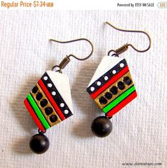 Earrings Terracotta Clay White with Multicolored Bands from West Bengal Jewelry…
