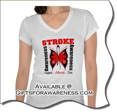 Go red for Stroke awareness with our red ribbon inspired designs on shirts and gifts for the cause available at giftsforawareness.com