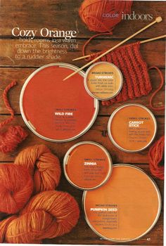 To find a wall color to pair with brown wood tones, look at the wood's undertone, then use the hues across from it on the color wheel. Orange Paint Colors, Paint Colors For Home, Fall Paint Colors, Coral Orange, Room Colors, Wall Colors, House Colors, Paint Color Palettes, Paint Color Schemes