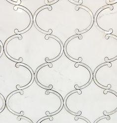 Marble Waterjet Mosaic Tile - Floating Lantern Dolomite White Marble and Mother of Pearl Water jet Mosaic Carrara Marble Kitchen, Marble Mosaic, Mosaic Tiles, Stone Mosaic, Kitchen Mosaic, 3d Tiles, Teal Kitchen, Kitchen Reno, Kitchen Backsplash