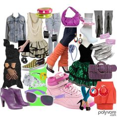80's Fashion...I wore at least 90% of this stuff sometime during my junior high and high school years. Some even the exact colors like the shoes shown.