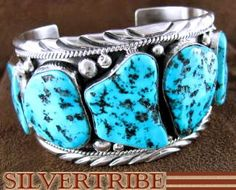 Sterling Silver Sleeping Beauty Turquoise Jewelry Navajo Indian Bracelet Cuff NS48906