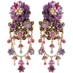 Michal Negrin Jewelry Clip On Flowers Earrings ❤ liked on Polyvore featuring jewelry, earrings, accessories, purple, brincos, purple earrings, blossom jewelry, michal negrin earrings, flower jewelry and flower jewellery
