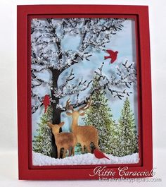KC-Impression-Obsession-Winter Snowy Tree Frame Scene with Flower Soft...decided to create a snowy scene with my new Impression Obsession Tree Frame.    I thought I would take a few step by step pictures as I created this project today.  I wanted to experiment with applying Crafter's Pick Ultimate Glue on the branches of the tree and....