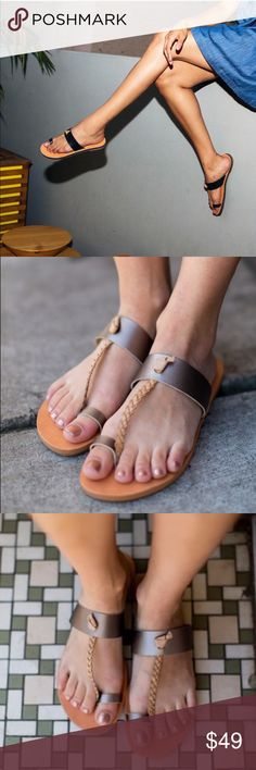 Braided Toe Ring Bohemian Chic Sandals A braided strap connects the vamp strap and toe ring of a bohemian-chic, faux-leather sandal. Synthetic upper, lining and sole. BC Footwear Shoes Sandals