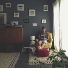Reading space with wall art