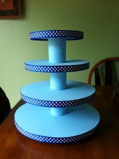diy cupcake stand... this one uses foam between the tiers and on the bottom