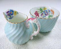 Vintage Aynsley Creamer and Sugar, Antique Cream Sugar Set, Blue Swirl China, Floral