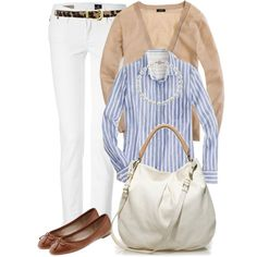 J. Crew Perfect Shirt in stripe linen in navy, white jeans, tan cardigan, and brown flats