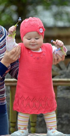 Knitting Pattern Coralline Flower Tunic Baby and by ViTalinaCraft
