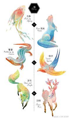 动物二十四节气 | 立春、雨水、惊蛰、春分、清明、谷雨、立夏、小满、芒种、夏至、小暑、大暑、立秋、处暑、白露、秋分、寒露、霜降、立冬、小雪、大雪、冬至、小寒、大寒。台湾插画师Cinyee Chiu,融合每个节气特色果蔬及气候变化,把传统二十四节气形象化。http://www.cinyeechiu.com/