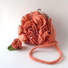 Felted handbag flower Orange coral rose flower by galafilc on Etsy,