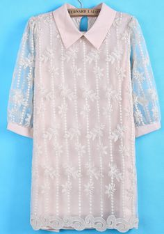 Pink Sheer Puff Sleeve Embroidered Lace Dress - Sheinside.com