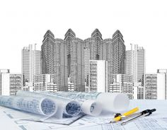 Sketching of modern building and plan blueprint. Use for architect and construct , – Let's NEW COME - Diy Techniques Engineering Consulting, Civil Engineering, Engineering Firms, Techno, Interior Fit Out, Building Sketch, Architecture Wallpaper, Paris Images, Photo Sketch