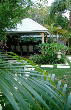 tropical garden with pavilion in nedlands