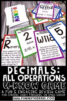 Adding, subtracting, multiplying and dividing decimals game!  This all operation decimal game is hands on, engaging and fun review activity for 5th grade.  Includes computation and word problem cards to review all standards.  Perfect for math centers/stations, early finishers and small group.  #mathgames